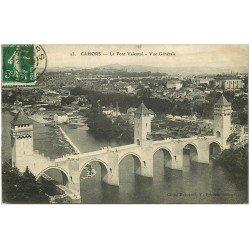 carte postale ancienne 46 CAHORS. Le Pont Valentré 1919