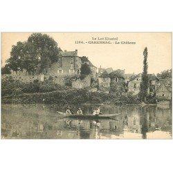 carte postale ancienne 46 CARENNAC. Château et ballade en barque