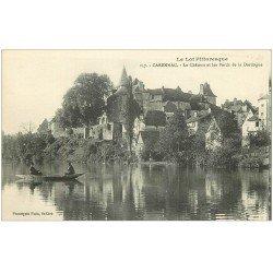 carte postale ancienne 46 CARENNAC. Château et le Passeur en barque