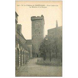 carte postale ancienne 46 CASTELNAU-BRETENOUX. Château Cour Galerie Donjon