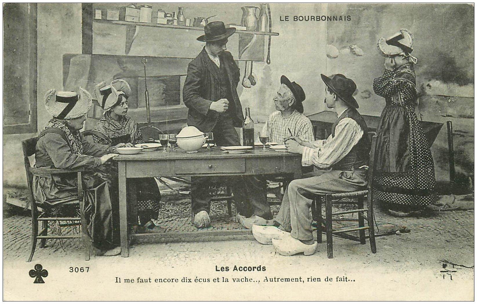 carte postale ancienne 03 BOURBONNAIS. Les Accords pour un Mariage 1910