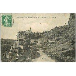 carte postale ancienne 46 ROCAMADOUR. Château et Eglise 1921