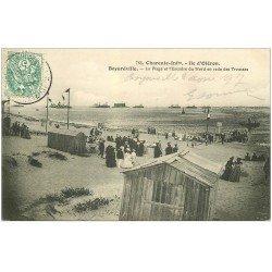 carte postale ancienne 17 BOYARDVILLE. Ile d'Oléron 1907. Plage et Escadre du Nord en rade des Trousses