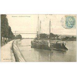 carte postale ancienne 17 CHARENTE. Le Pont de Tonnay avec Péniches 1905