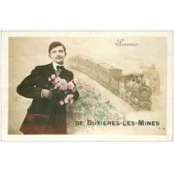 carte postale ancienne 03 BUXIERES-LES-MINES. Souvenir d'un Train. Carte émaillographie