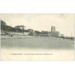 carte postale ancienne 17 FOURAS-LES-BAINS. Grande Plage et Sémaphore vers 1900