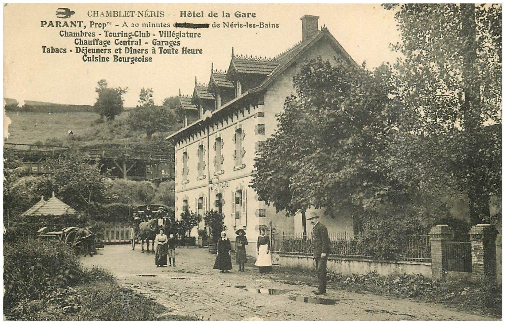 carte postale ancienne 03 CHAMBLET NERIS. Hôtel de la Gare