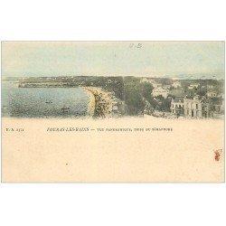 carte postale ancienne 17 FOURAS-LES-BAINS. Rare double vue prise du Sémaphore en couleur.
