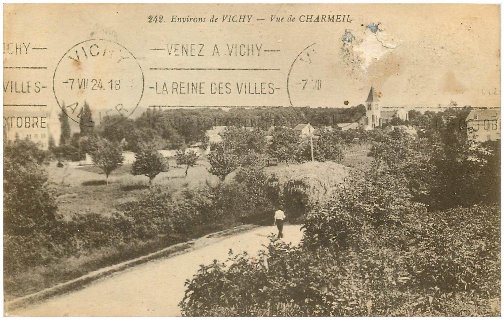 carte postale ancienne 03 CHARMEIL. Agriculteur suivant son attelage de foin 1924 (timbre enlevé)...