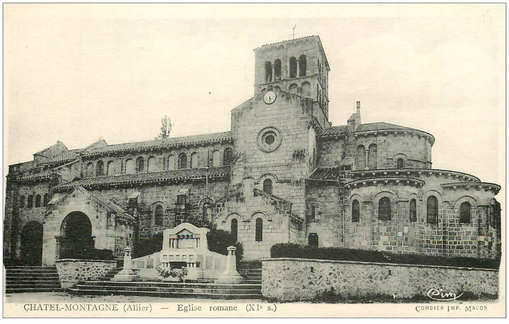 carte postale ancienne 03 CHATELMONTAGNE. Eglise . edition Combier