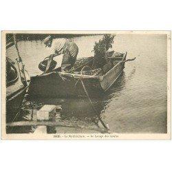 carte postale ancienne 17 LA ROCHELLE. La Mytiliculture. Le Lavage des moules. Crustacés et Poissons