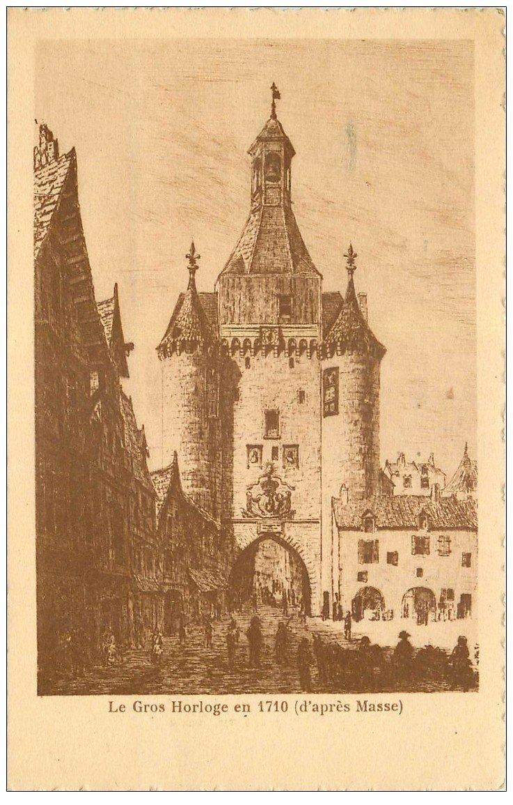 carte postale ancienne 17 LA ROCHELLE. Le Gros Horloge en 1710 d'après Masse