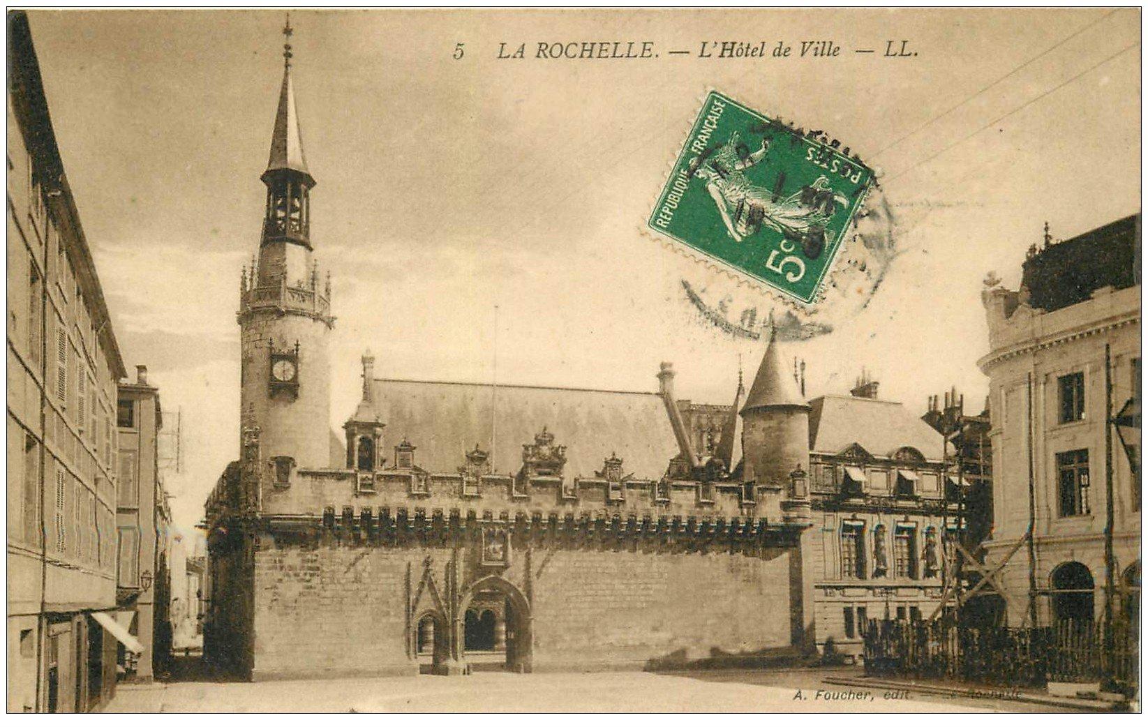 carte postale ancienne 17 LA ROCHELLE. L'Hôtel de Ville. Carte émaillographie vers 1910