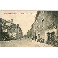 carte postale ancienne 03 CHATELMONTAGNE. Hôtel et Café du Commerce. Pompe à essence ROYAL
