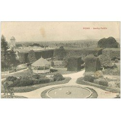 carte postale ancienne 17 PONS. Jardin Public 1906. Kiosque à Musique. Ecriture croisée...