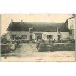 carte postale ancienne 03 CHAZEMAIS. Epicerie Moreau 1906. Panneau Chocolat Meunier
