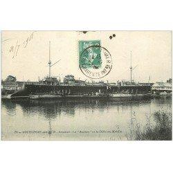 """carte postale ancienne 17 ROCHEFORT-SUR-MER. Arsenal """""""" Le Suchet """""""" et la Défense Mobile 1908"""