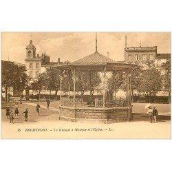 carte postale ancienne 17 ROCHEFORT-SUR-MER. Kiosque à Musique et Eglise