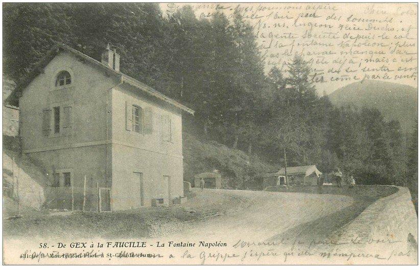 carte postale ancienne 01 De GEX à la FAUCILLE. La Fontaine Napoléon 1905