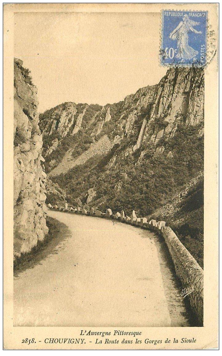 carte postale ancienne 03 CHOUVIGNY. La Route Gorges de la Sioule