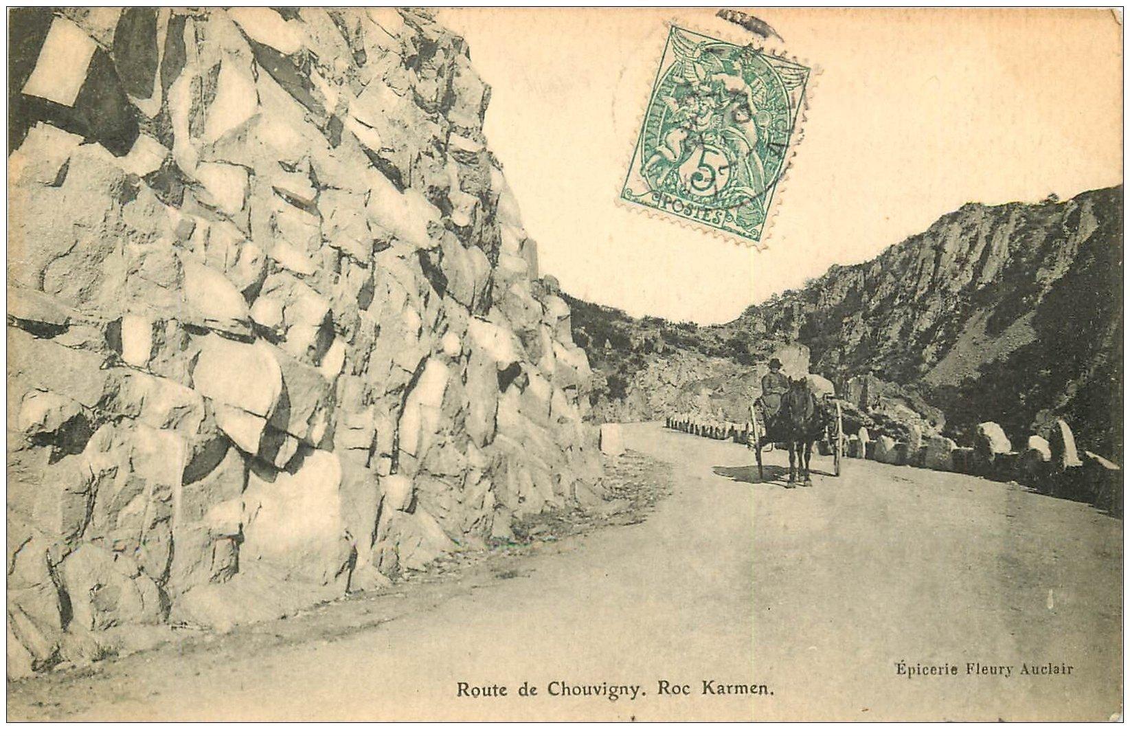 carte postale ancienne 03 CHOUVIGNY. Le Roc Karmen attelage sur la Route1907