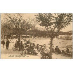 carte postale ancienne 17 ROYAN. Square et Boulevard Botton. Timbre Taxe 1925. Galerie Souchard