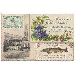 17 SAINT-MARTIN-DE-RE. Eglise de la Couarde 1905. Superbe carte montage Collage avec Poisson d'avril et Fleurs en ajout.