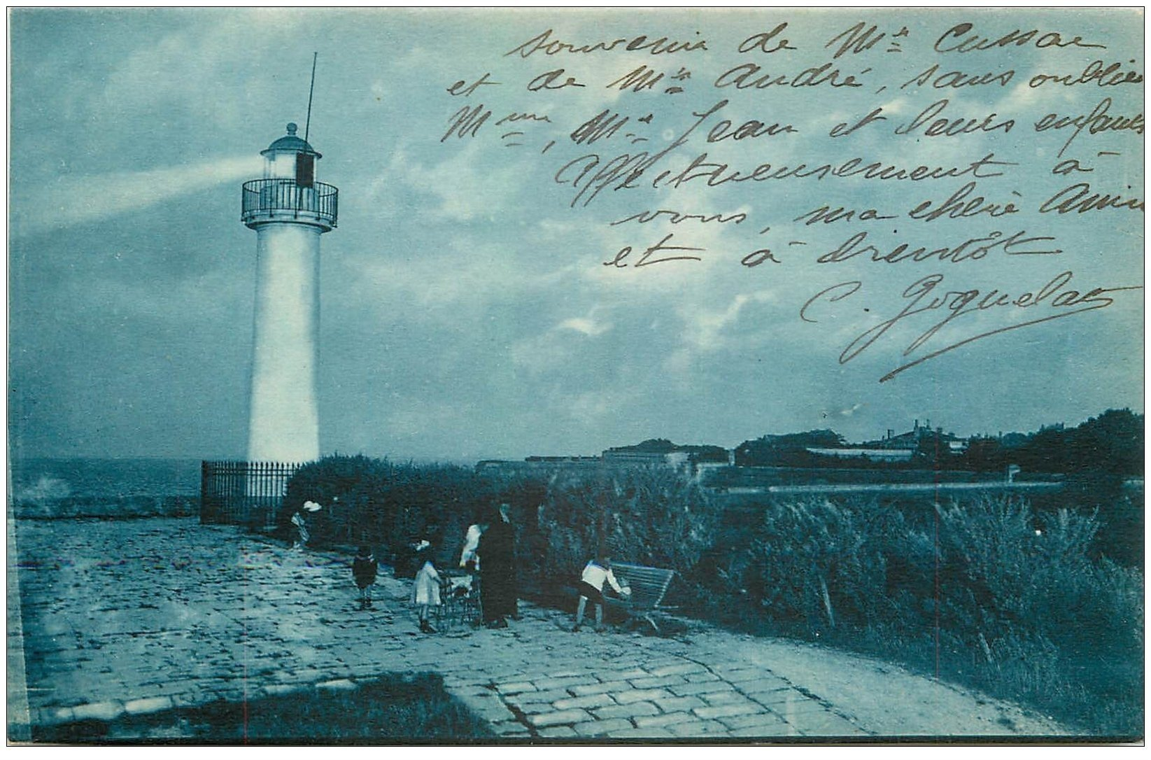 carte postale ancienne 17 SAINT-MARTIN-DE-RE. La Barbette au Clair de Lune 1926. Le Phare