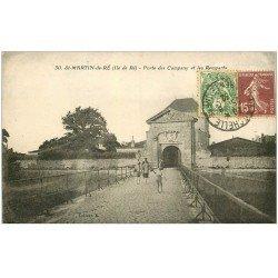 carte postale ancienne 17 SAINT-MARTIN-DE-RE. Porte des Campany et Remparts 1932
