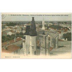 carte postale ancienne 17 SAINT-MARTIN-DE-RE. ruines et tourelles ancienne Eglise fortifiée 1919