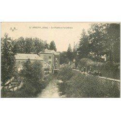 carte postale ancienne 18 ARGENT. Le Moulin et le Château avec écoliers