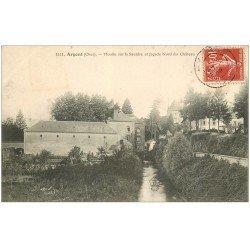 carte postale ancienne 18 ARGENT. Moulin sur la Sauldre et Château 1908