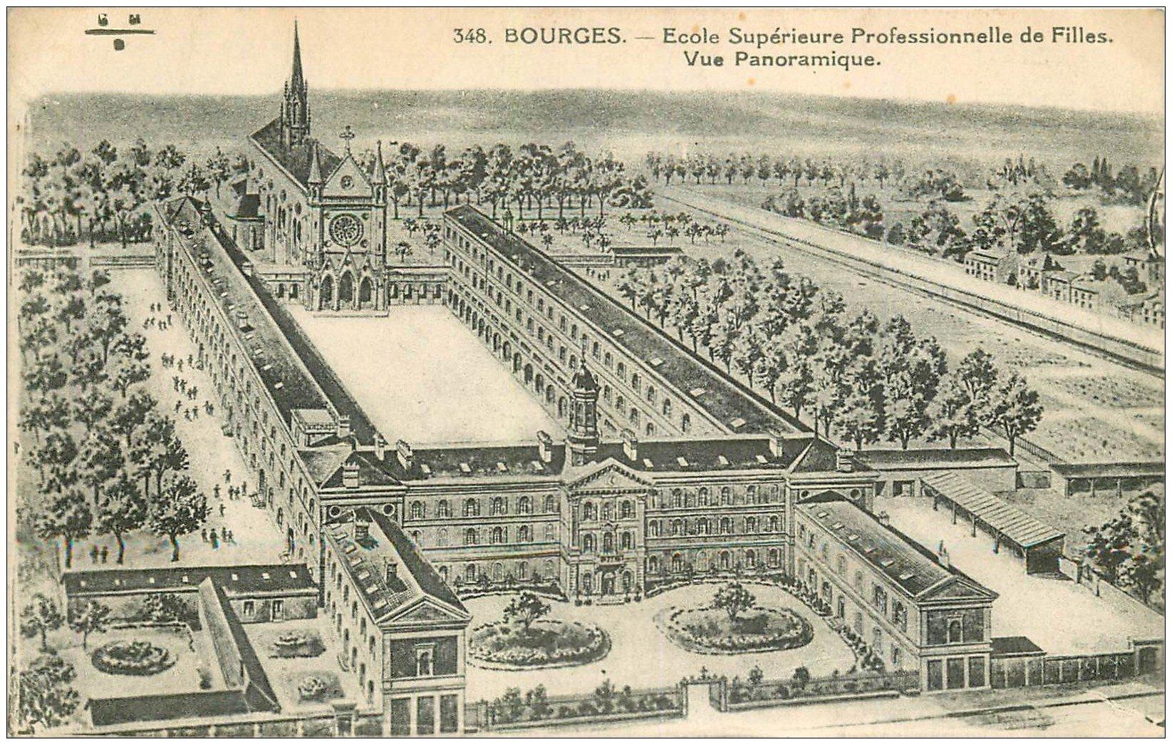 carte postale ancienne 18 BOURGES. Ecole Professionnelle de Filles vers 1930
