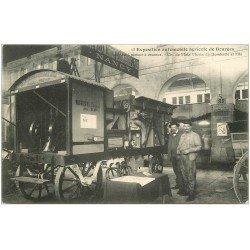 carte postale ancienne 18 BOURGES. Exposition Automobile Agricole en 1908. Batteuse moteur à essence. Superbe et Rare.