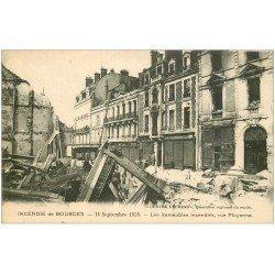carte postale ancienne 18 BOURGES. Incendie 1928. Immeubles incendiés Rue Moyenne