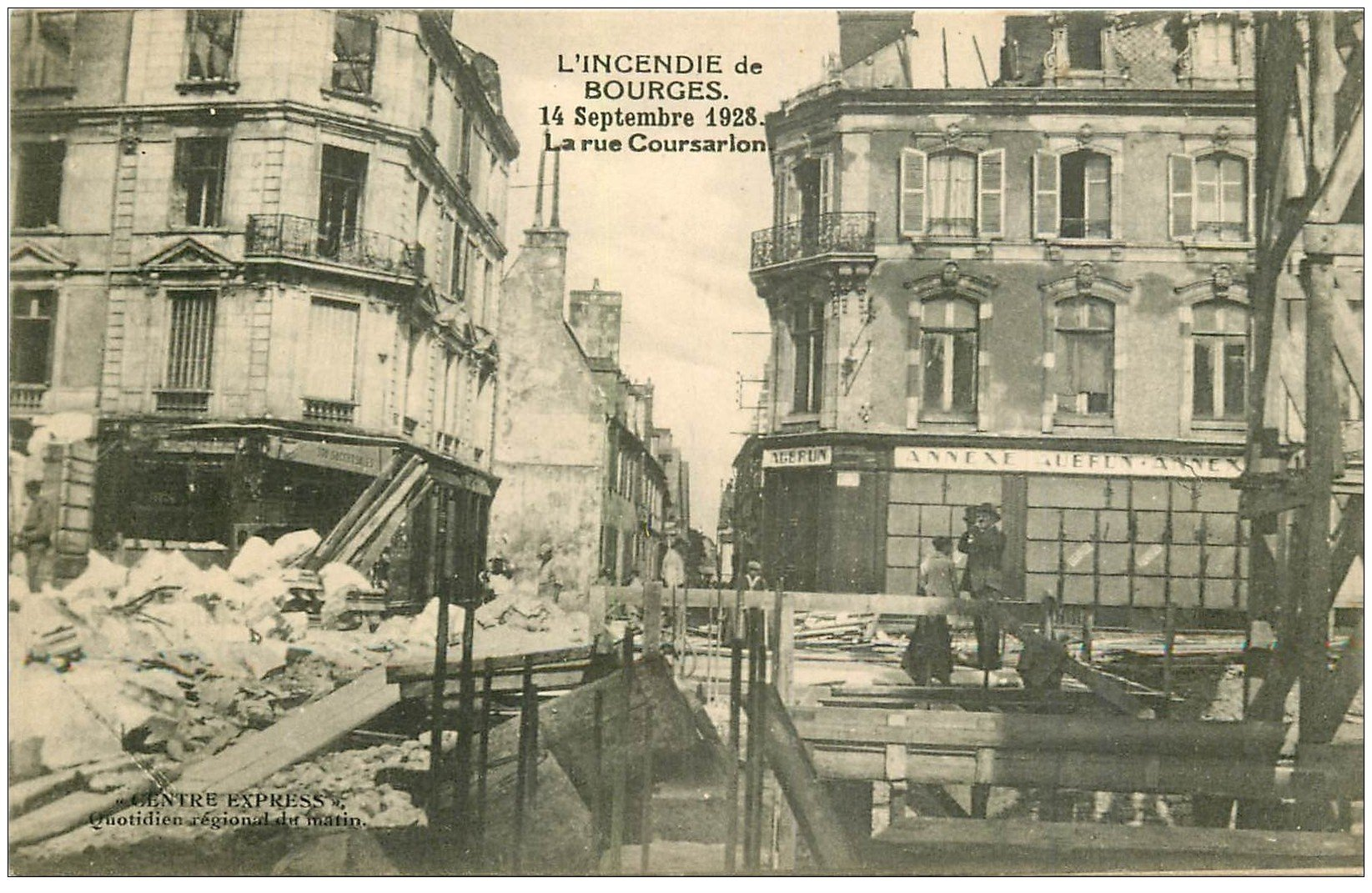 18 bourges incendie 1928 photographe rue coursarlon et annexe albrun. Black Bedroom Furniture Sets. Home Design Ideas