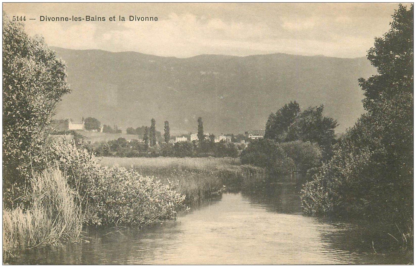 carte postale ancienne 01 Divonne-les-Bains et la Rivière la Divonne 1918