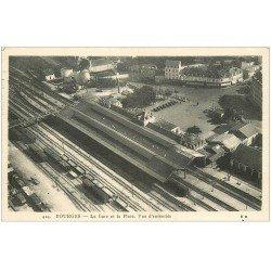carte postale ancienne 18 BOURGES. La Gare et la Place 1939 vue aérienne