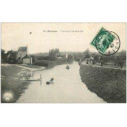 carte postale ancienne 18 BOURGES. L'Auron à Saint-Outrille animé 1909