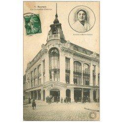 carte postale ancienne 18 BOURGES. Les Nouvelles Galeries animées 1909. Coiffe Berrichonne