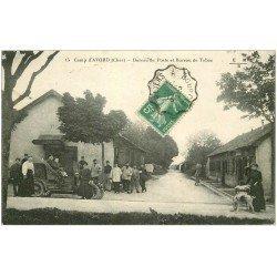 carte postale ancienne 18 CAMP D'AVORD. Bureau de Poste et Tabac voiture décapotable 1916