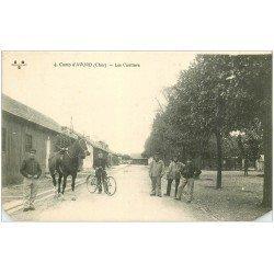 carte postale ancienne 18 CAMP D'AVORD. Les Cantines 1915. Cavalier et Cycliste. Coins inf. biseautés