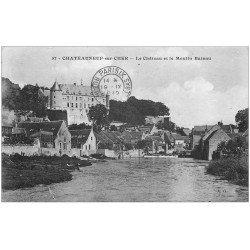 carte postale ancienne 18 CHATEAUNEUF-SUR-CHER. Château et Moulin Bateau 1919