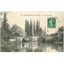 carte postale ancienne 18 CHATEAUNEUF-SUR-CHER. Le Pont Vieux 1915