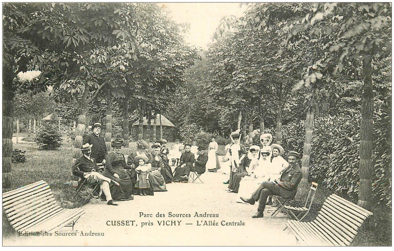 carte postale ancienne 03 CUSSET. Parc des Sources Andreau vers 1910...