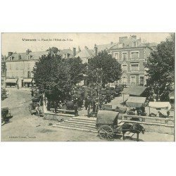 carte postale ancienne 18 VIERZON. Le Marché Place de l'Hôtel de Ville 1916. Attelage Molleron