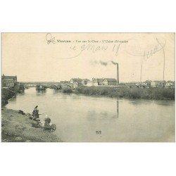 carte postale ancienne 18 VIERZON. L'Usine élévatoire. Lavandières bord du Cher 1918