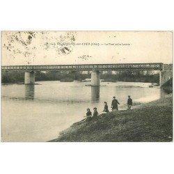 carte postale ancienne 18 VILLENEUVE-SUR-CHER. Pont et Lavoir 1924 Lavandières