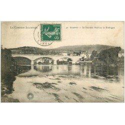 carte postale ancienne 19 ARGENTAT. Le Pont sur la Dordogne 1909