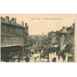 carte postale ancienne 19 BRIVE. Avenue de la Gare. Hôtel de France et Coiffeur
